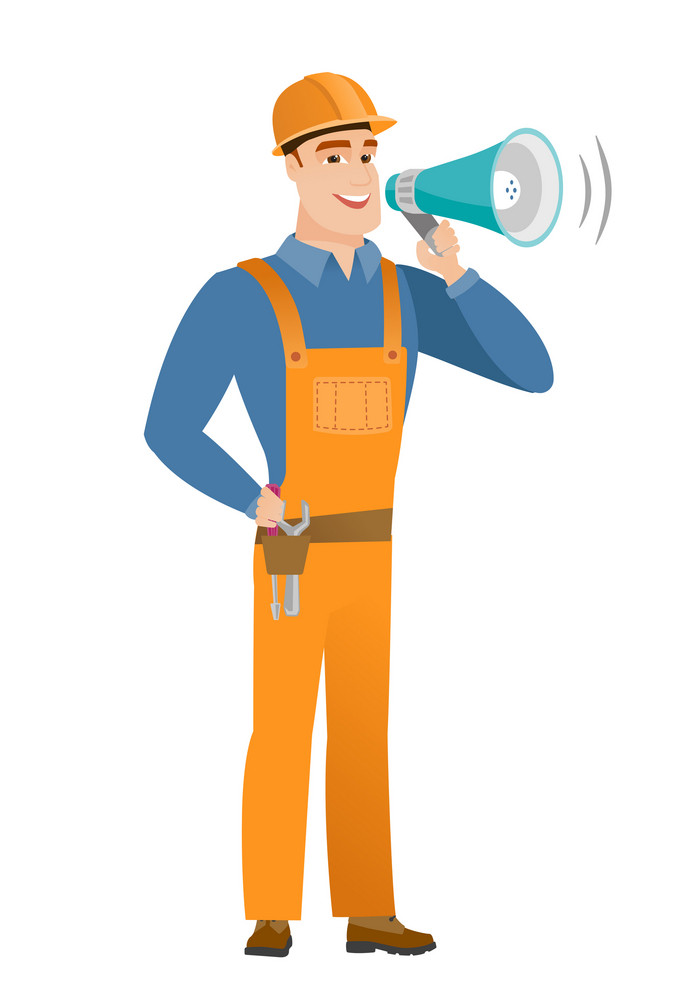 Caucasian builder with a loudspeaker making an announcement. Full length of young builder making an announcement through a loudspeaker. Vector flat design illustration isolated on white background.
