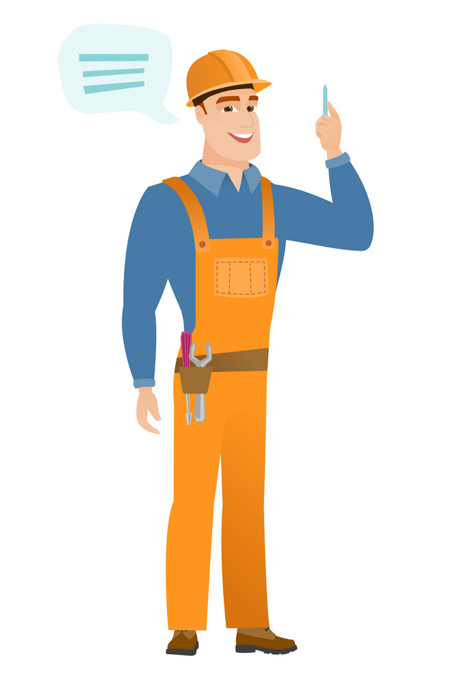 Caucasian builder with speech bubble. Young builder in hard hat giving a speech. Builder with speech bubble coming out of his head. Vector flat design illustration isolated on white background.