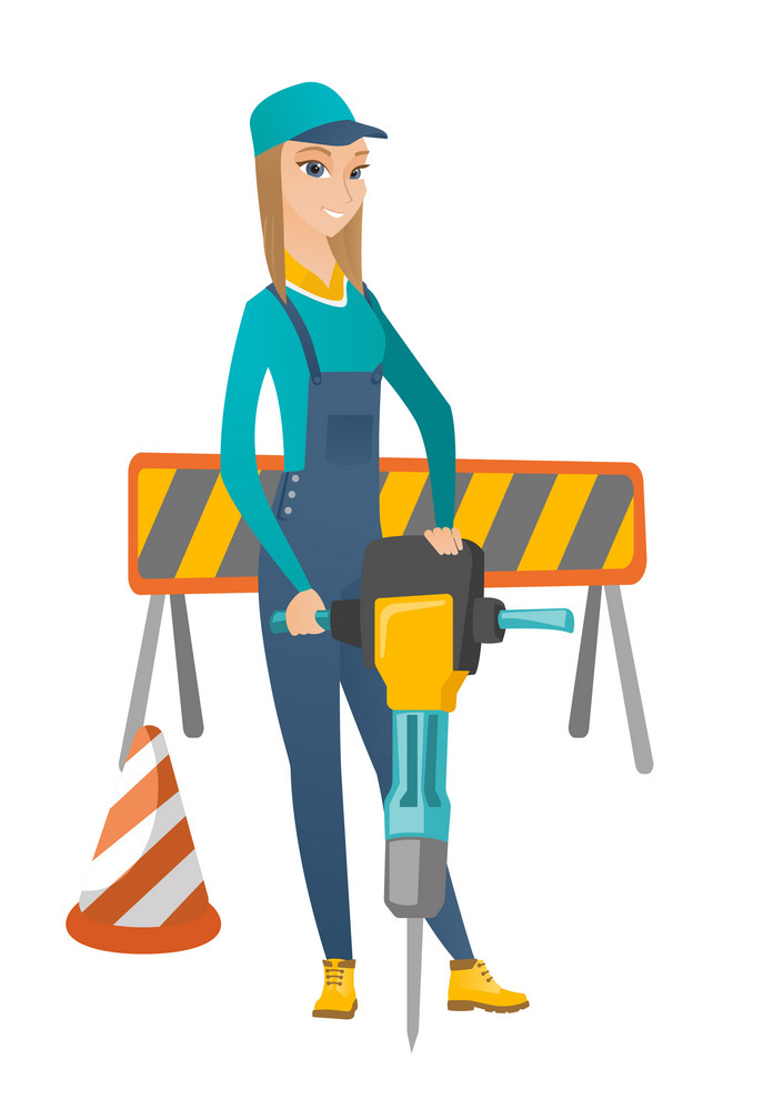 Caucasian builder worker working with pneumatic hammer drill equipment at construction site. Young builder worker using pneumatic hammer. Vector flat design illustration isolated on white background.