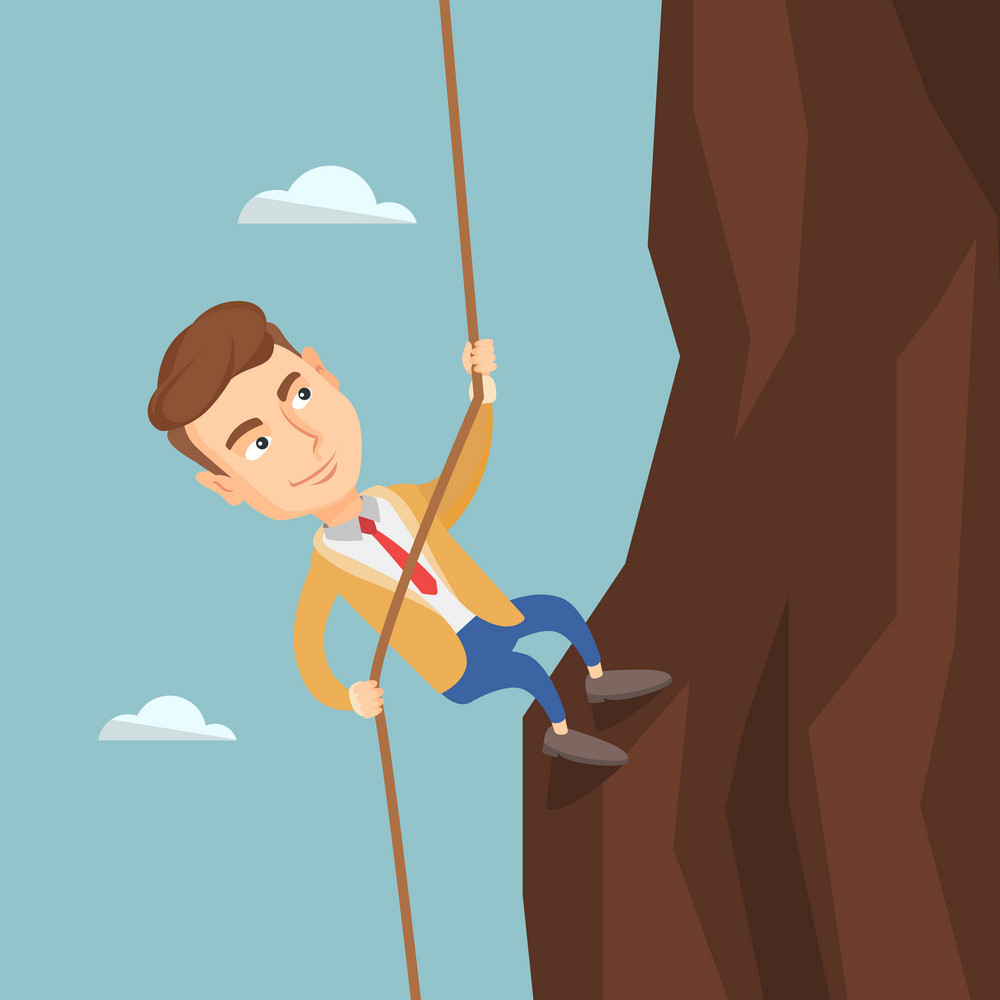 Caucasian business man climbing on the rock. Young brave business man climbing on the mountain using rope. Concept of business challenge. Vector flat design illustration. Square layout.
