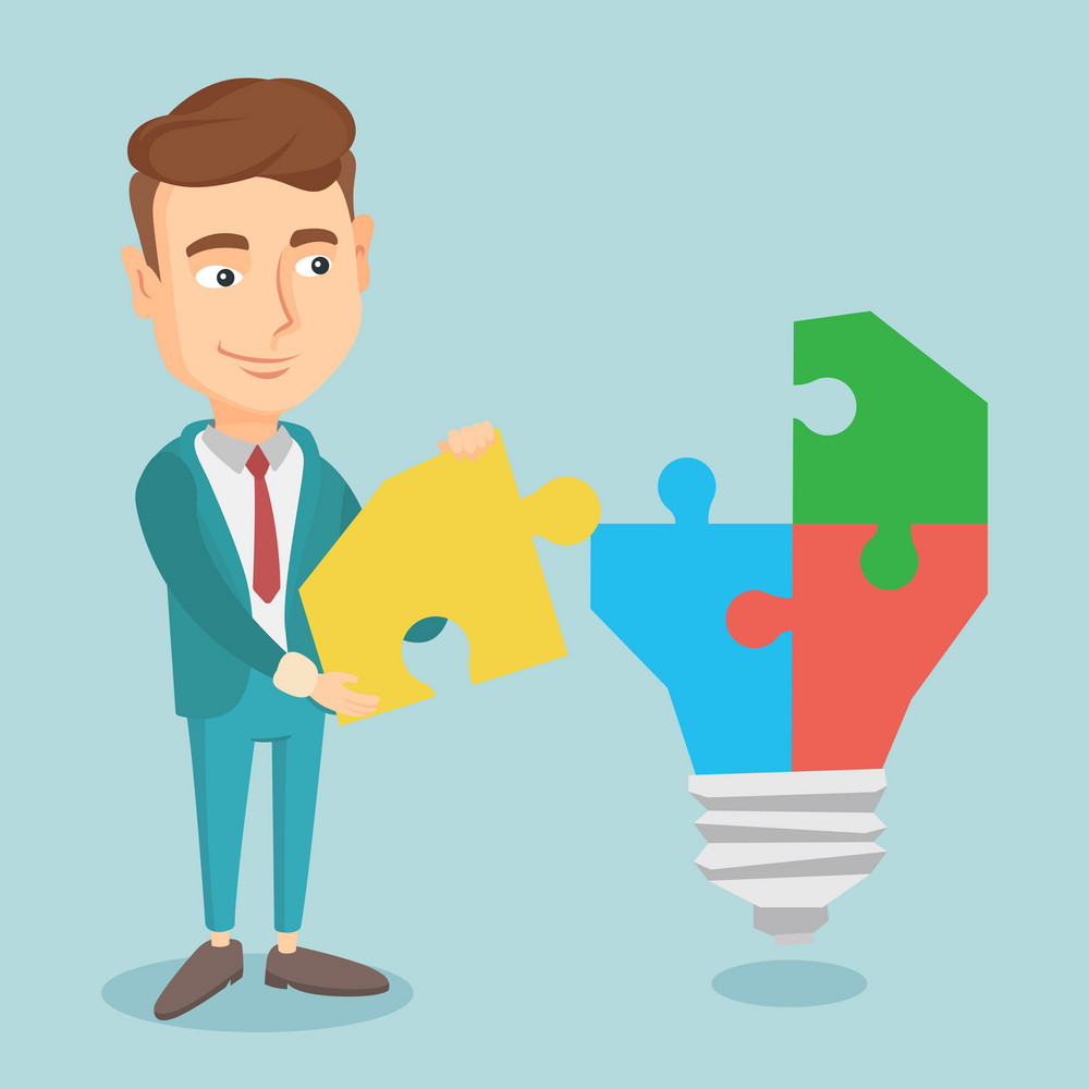 Caucasian business man completing idea light bulb made of puzzle. Business man inserts the missing puzzle in idea light bulb. Business idea concept. Vector flat design illustration. Square layout.