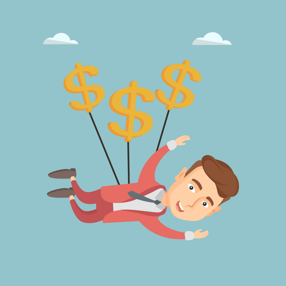 Caucasian business man flying with dollar signs. Happy business man gliding in the sky with dollars. Business man using dollar signs as parachute. Vector flat design illustration. Square layout.