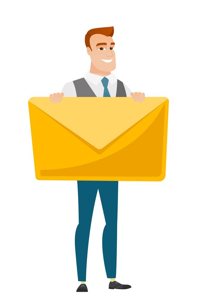 Caucasian business man holding a big envelope. Full length of business man holding a big envelope. Cheerful business man with big envelope. Vector flat design illustration isolated on white background