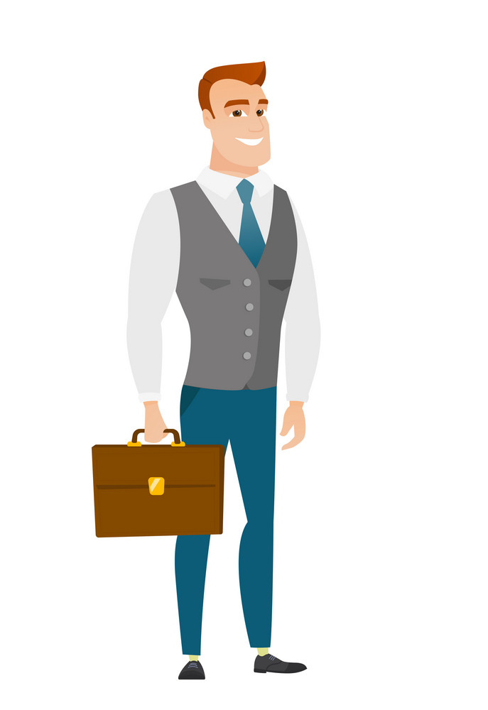 Caucasian business man holding briefcase. Full length of young business man with briefcase. Widely smiling business man holding briefcase. Vector flat design illustration isolated on white background.