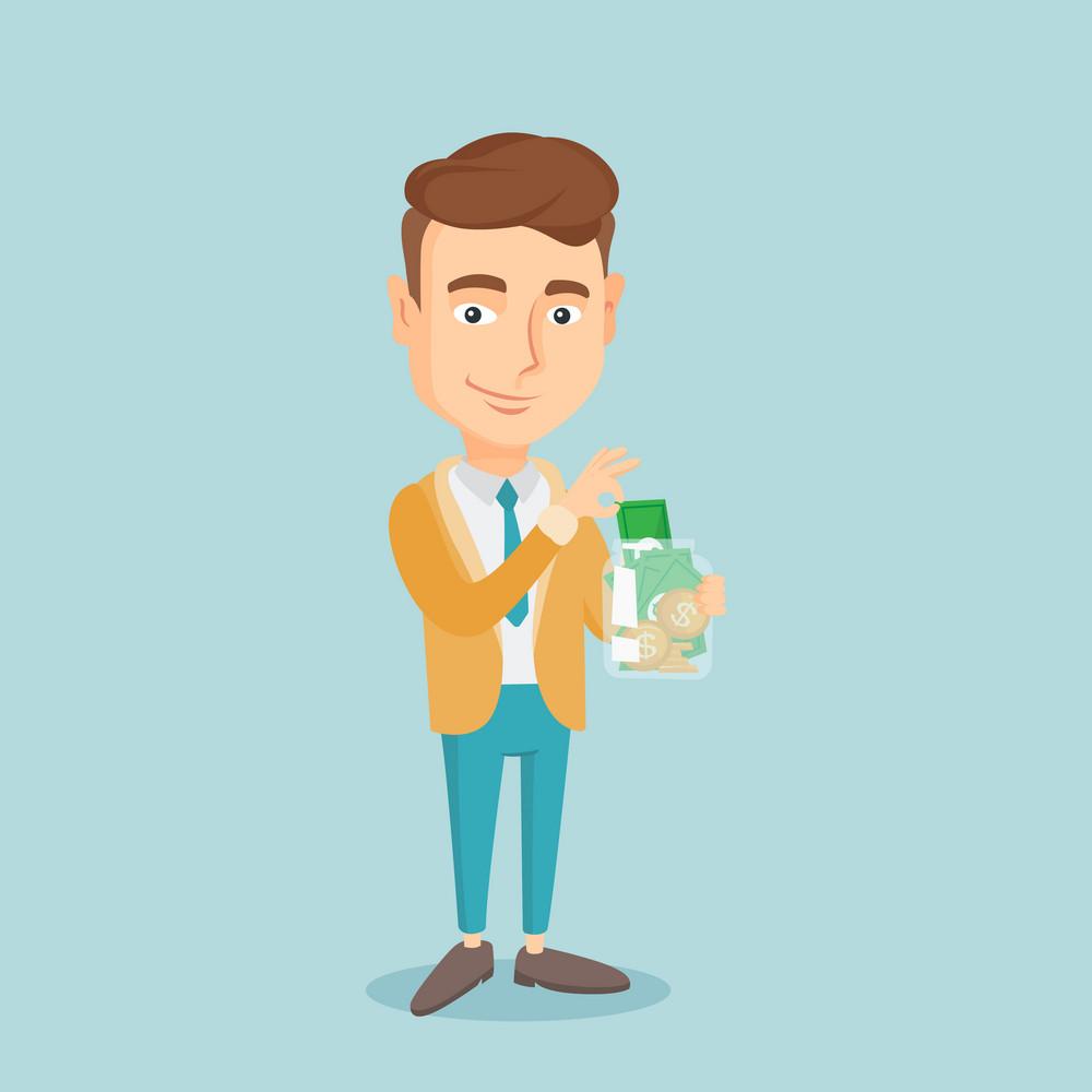 Caucasian business man holding glass jar. Smiling business man saving money banknotes in glass jar. Business man putting money into glass jar. Vector flat design illustration. Square layout.