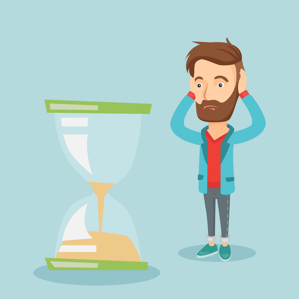 Caucasian business man looking at hourglass symbolizing deadline. Business man worrying about deadline terms. Time management and deadline concept. Vector flat design illustration. Square layout.
