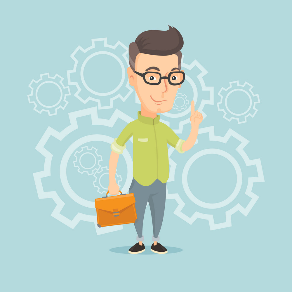 Caucasian business man pointing finger up because he came up with business idea. Businessman having business idea. Successful business idea concept. Vector flat design illustration. Square layout.
