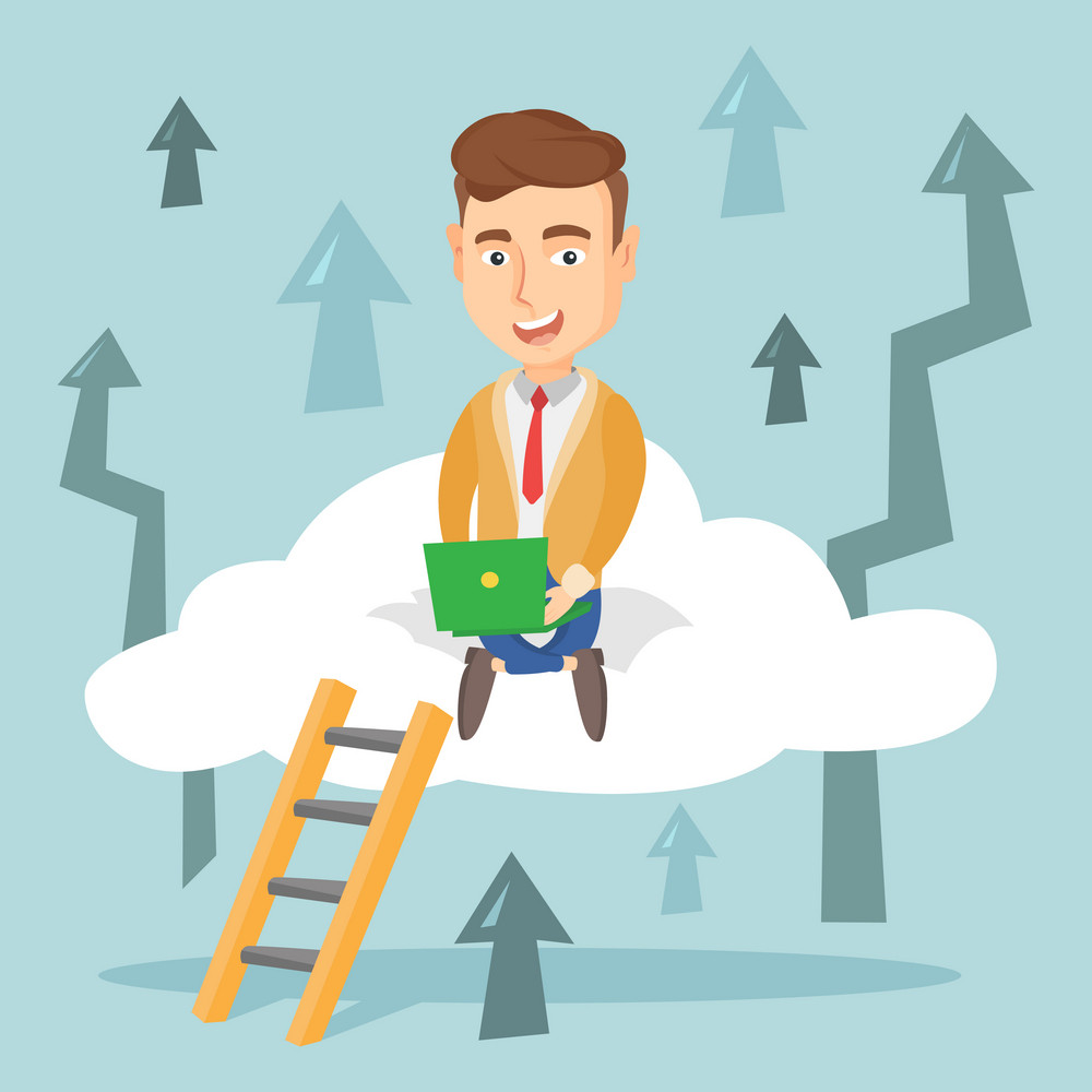 Caucasian business man sitting on a cloud and working on his laptop. Excited business man using cloud computing technology. Cloud computing concept. Vector flat design illustration. Square layout.