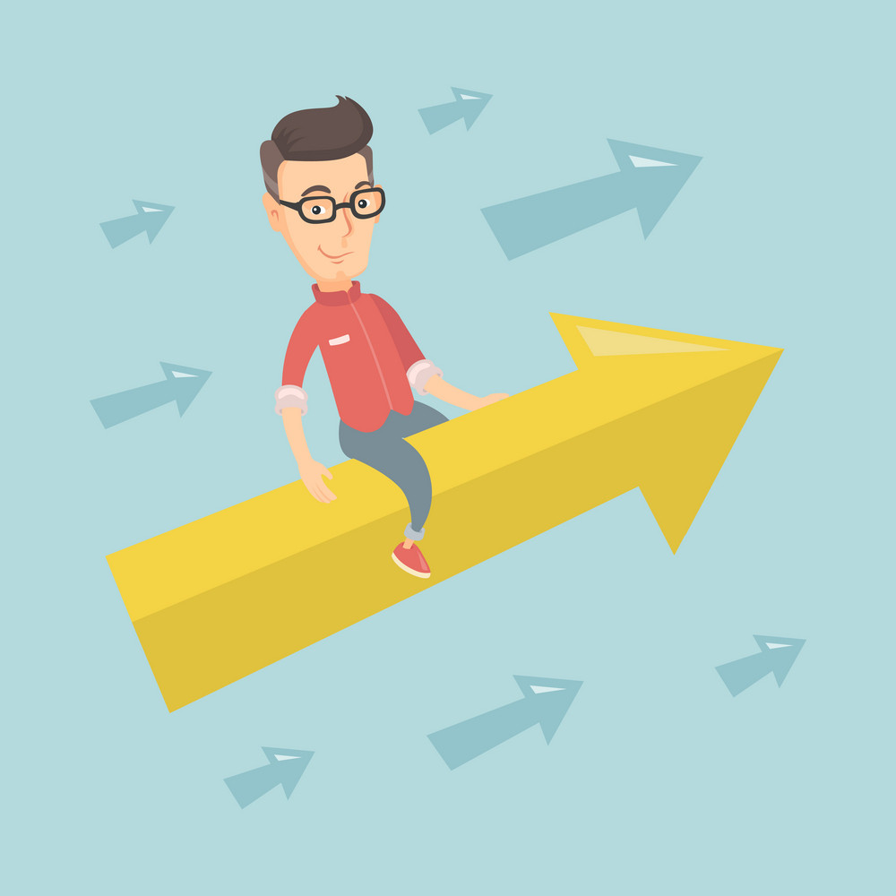 Caucasian business man sitting on arrow going to success. Successful business man flying up on arrow. Concept of moving forward to business success. Vector flat design illustration. Square layout.