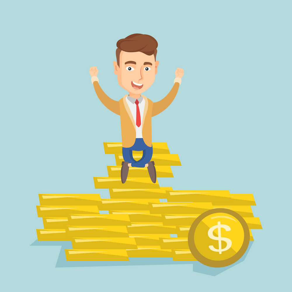 Caucasian business man sitting on stack of golden coins. Cheerful business man sitting on a pile of golden coins. Successful business man on gold coins. Vector flat design illustration. Square layout.
