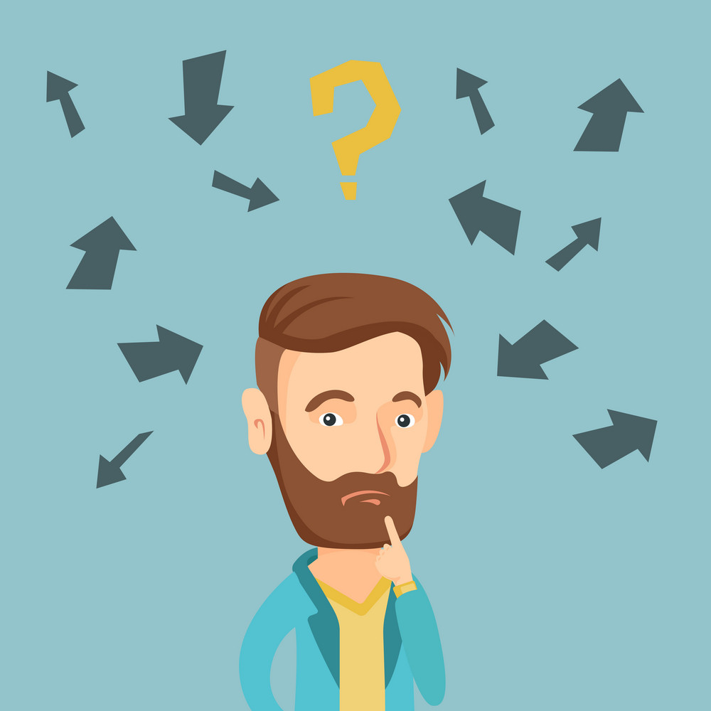 Caucasian business man standing under question mark and arrows. Business man thinking. Thoughtful business man surrounded by question mark and arrows. Vector flat design illustration. Square layout.