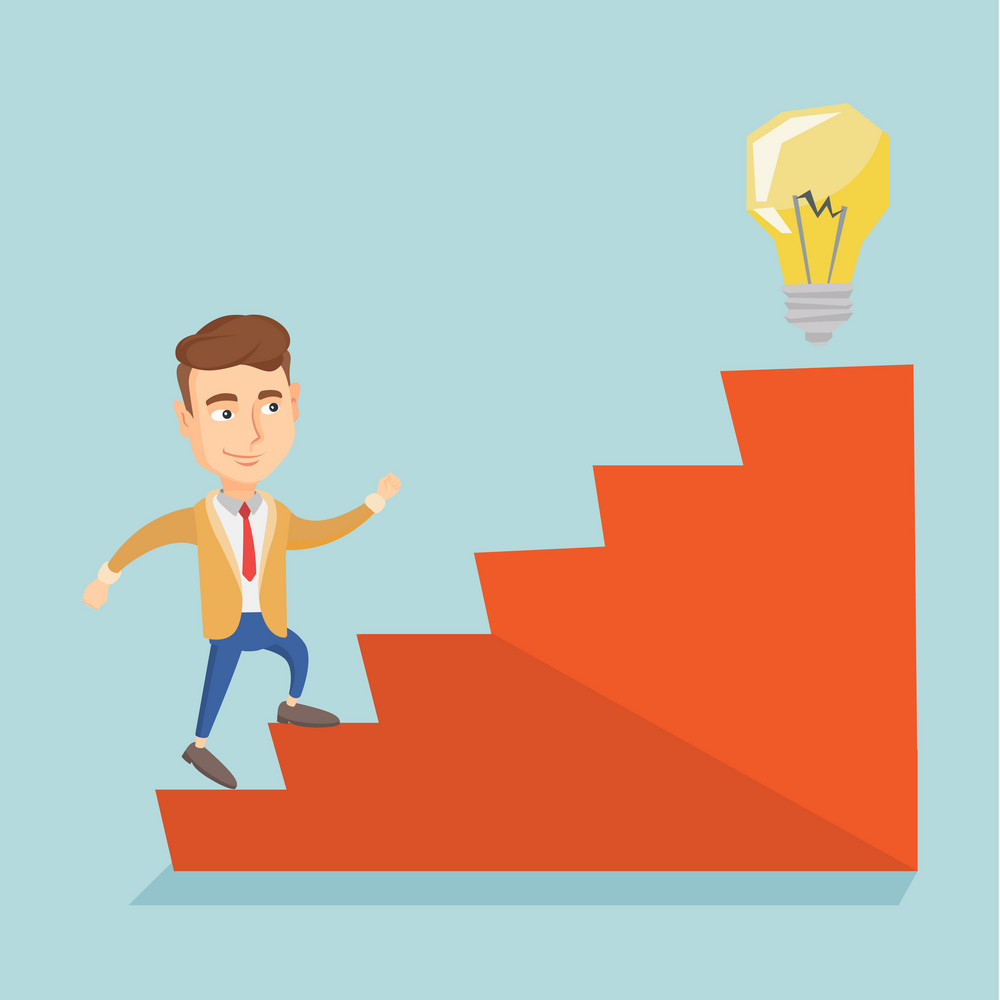 Caucasian business man walking upstairs to the idea light bulb. Business man running on the stairs to get idea bulb on the top. Business idea concept. Vector flat design illustration. Square layout.