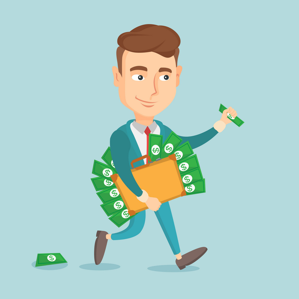 Caucasian business man walking with briefcase full of money and committing economic crime. Business man stealing money. Economic crime concept. Vector flat design illustration. Square layout.
