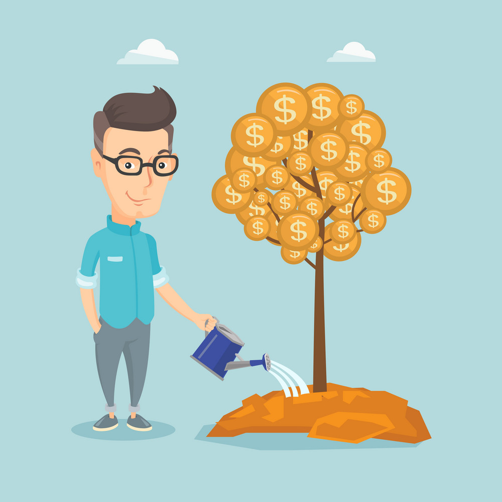 Caucasian business man watering money tree. Young business man investing money in business project. Illustration of investment money in business. Vector flat design illustration. Square layout.