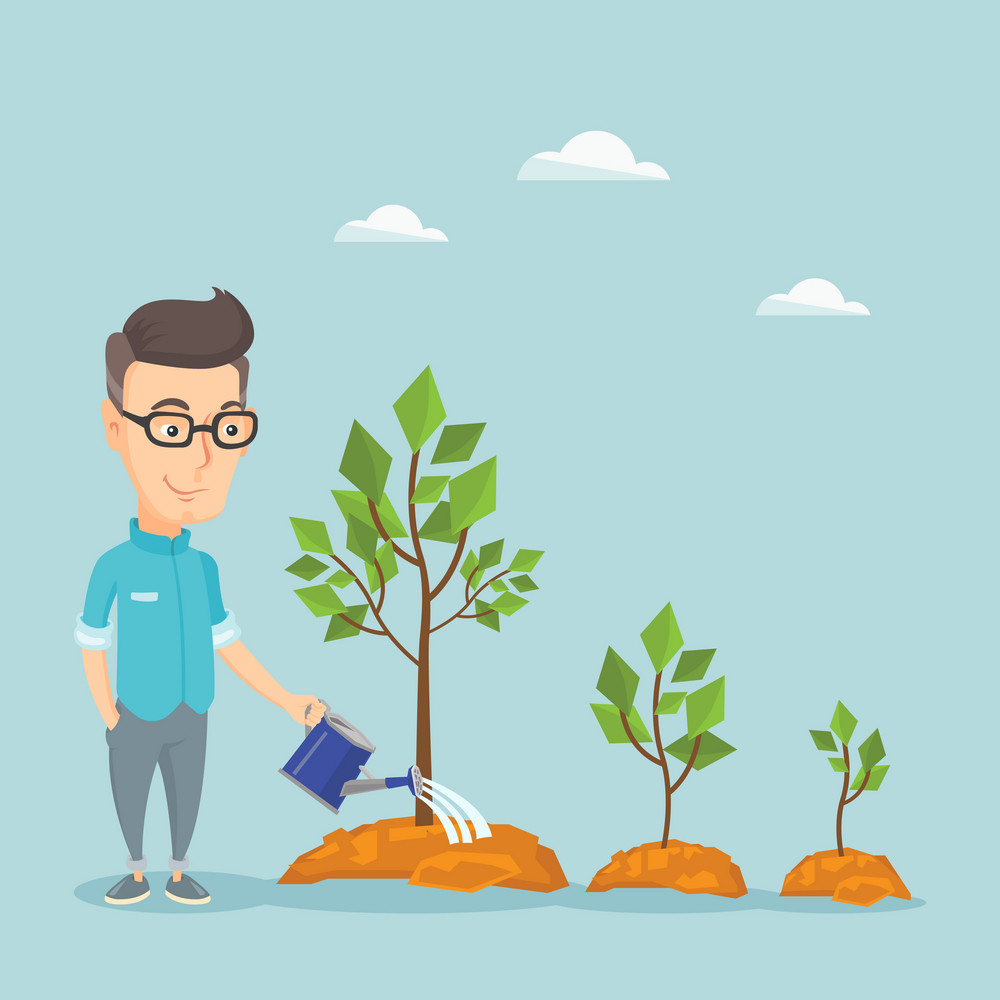 Caucasian business man watering trees of three sizes. Smiling business man watering trees with watering can. Business growth and investment concept. Vector flat design illustration. Square layout.