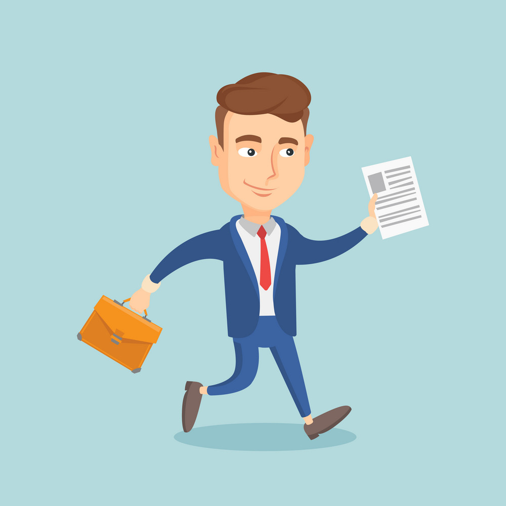 Caucasian business man with briefcase and a document running. Young happy business man running in a hurry. Cheerful business man running forward. Vector flat design illustration. Square layout.