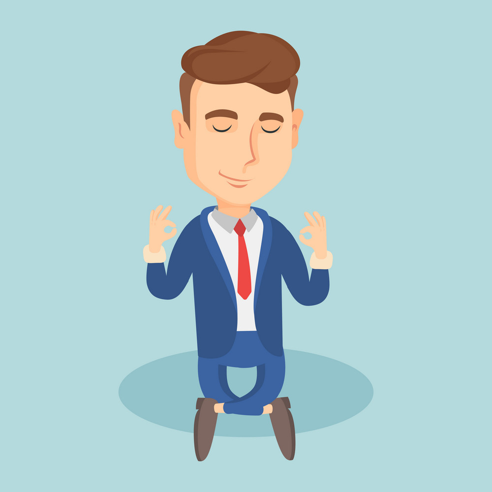 Caucasian business man with eyes closed meditating in yoga lotus position. Business man relaxing in the yoga lotus position. Business man doing yoga. Vector flat design illustration. Square layout.