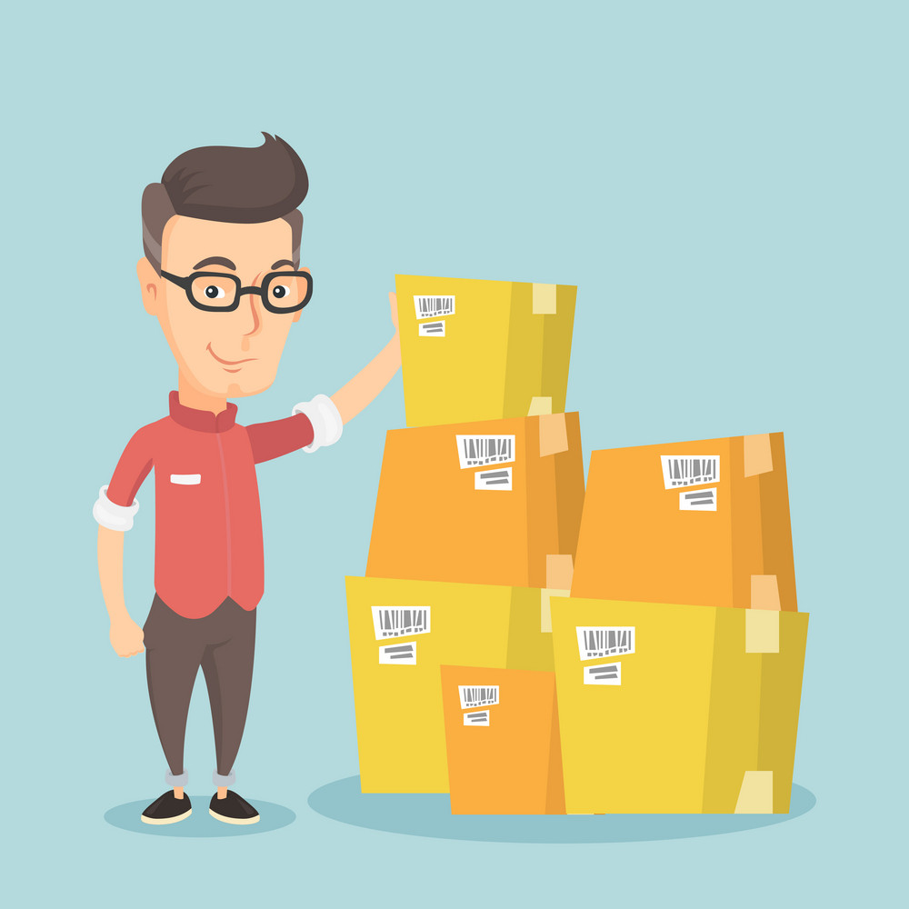 Caucasian business man working in warehouse. Business man checking boxes in warehouse. Young business man preparing goods for dispatch in warehouse. Vector flat design illustration. Square layout.