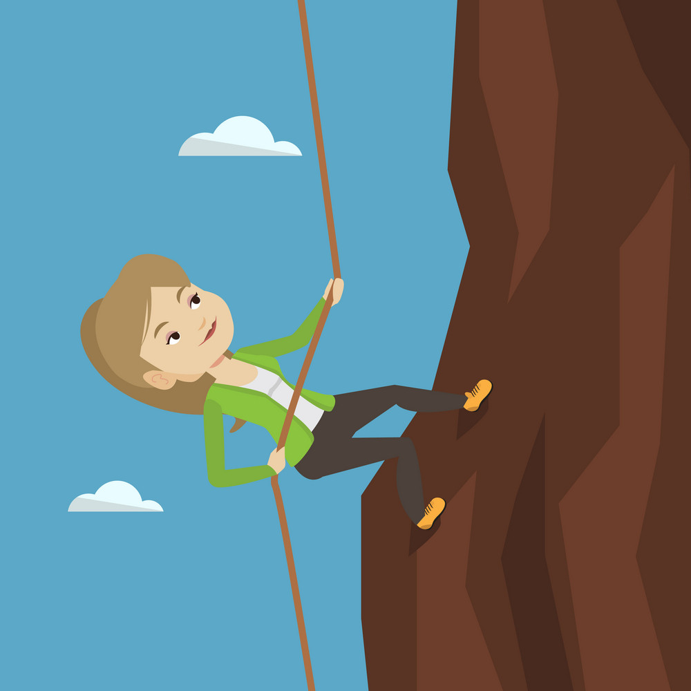 Caucasian business woman climbing on the rock. Young brave business woman climbing on the mountain using rope. Concept of business challenge. Vector flat design illustration. Square layout.