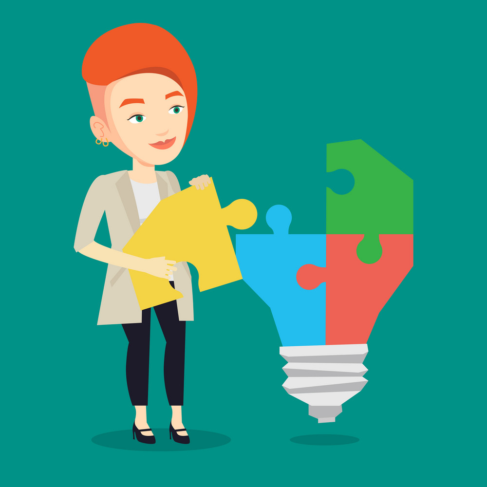 Caucasian business woman completing idea light bulb made of puzzle. Business woman inserts the missing puzzle in idea light bulb. Business idea concept. Vector flat design illustration. Square layout.