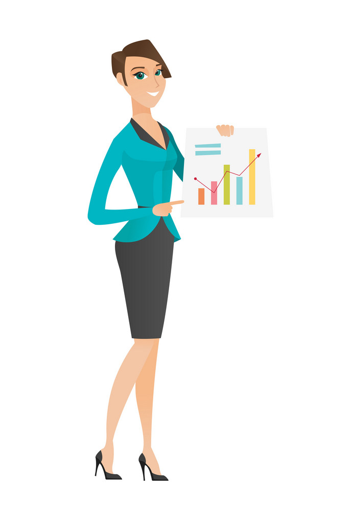 Caucasian business woman giving a business presentation and showing financial chart. Young business woman pointing at financial chart. Vector flat design illustration isolated on white background.