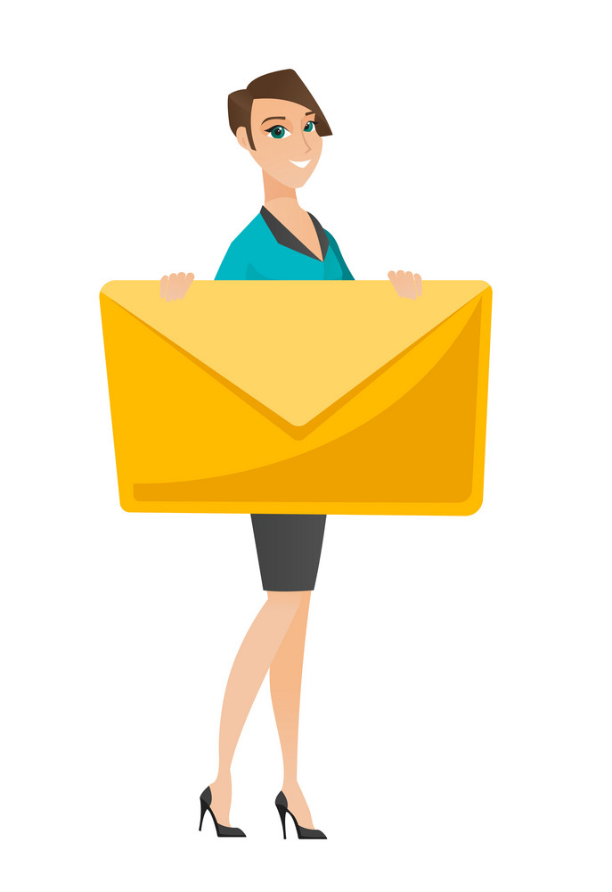 Caucasian business woman holding a big envelope. Full length of business woman holding envelope. Cheerful business woman with big envelope. Vector flat design illustration isolated on white background