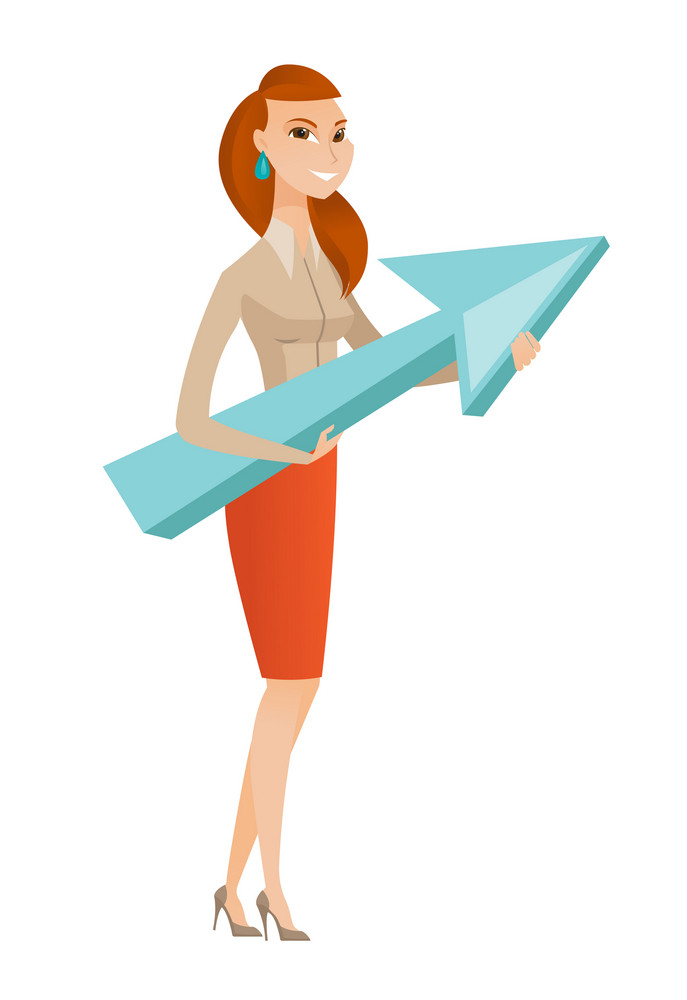 Caucasian business woman holding arrow representing business growth. Young business woman with growth graph. Concept of business growth. Vector flat design illustration isolated on white background.