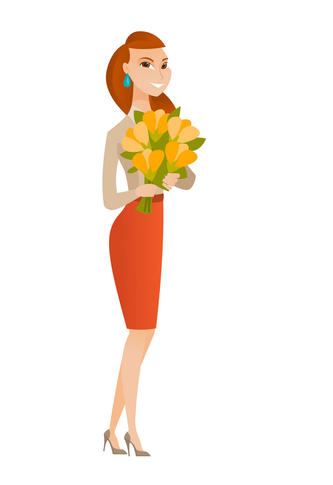 Caucasian business woman holding bouquet of flowers. Young business woman with bouquet of flowers. Happy business woman with flowers. Vector flat design illustration isolated on white background.