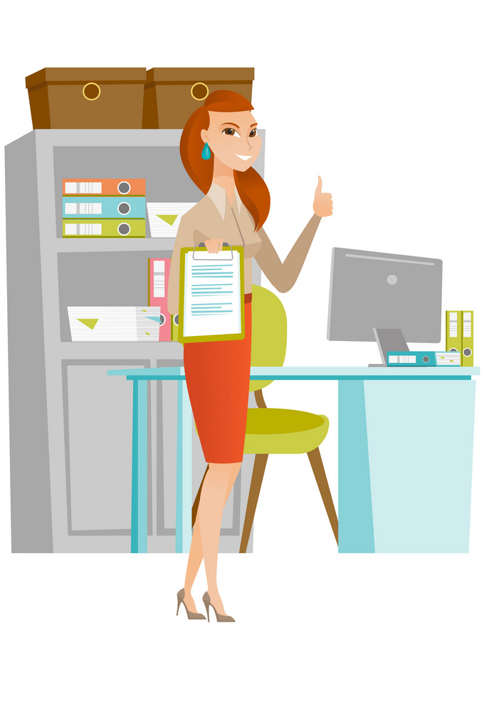 Caucasian business woman holding clipboard and giving thumb up. Young business woman with clipboard. Business woman showing clipboard. Vector flat design illustration isolated on white background