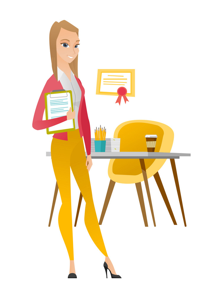 Caucasian business woman holding clipboard with documents. Young businesswoman with documents in office. Business woman holding documents. Vector flat design illustration isolated on white background.
