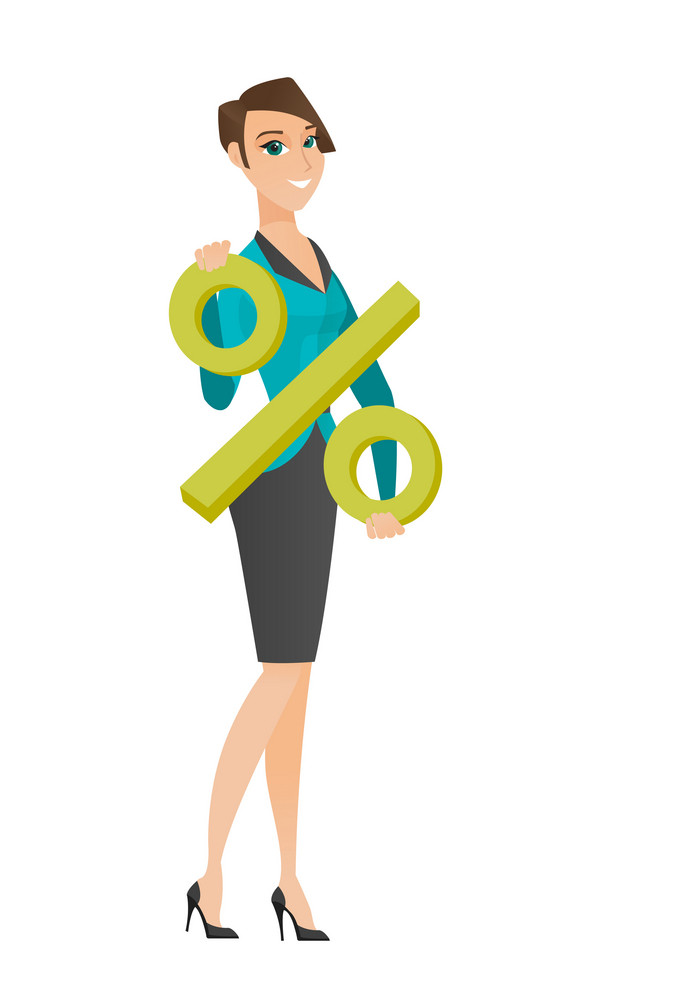 Caucasian business woman holding percent sign. Full length of business woman holding percent sign. Young business woman with percent sign. Vector flat design illustration isolated on white background.