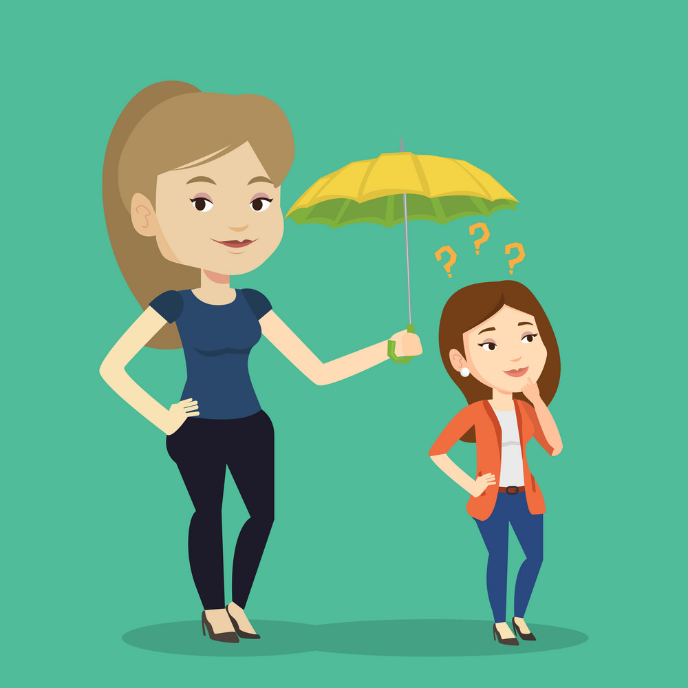 Caucasian business woman holding umbrella over young woman. Woman standing under umbrella and question marks. Concept of protection and insurance. Vector flat design illustration. Square layout.