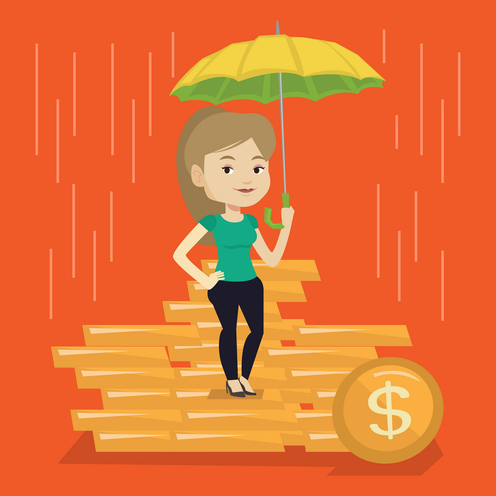 Caucasian business woman insurance agent. Female insurance agent holding umbrella over golden coins. Business insurance and business protection concept. Vector flat design illustration. Square layout.