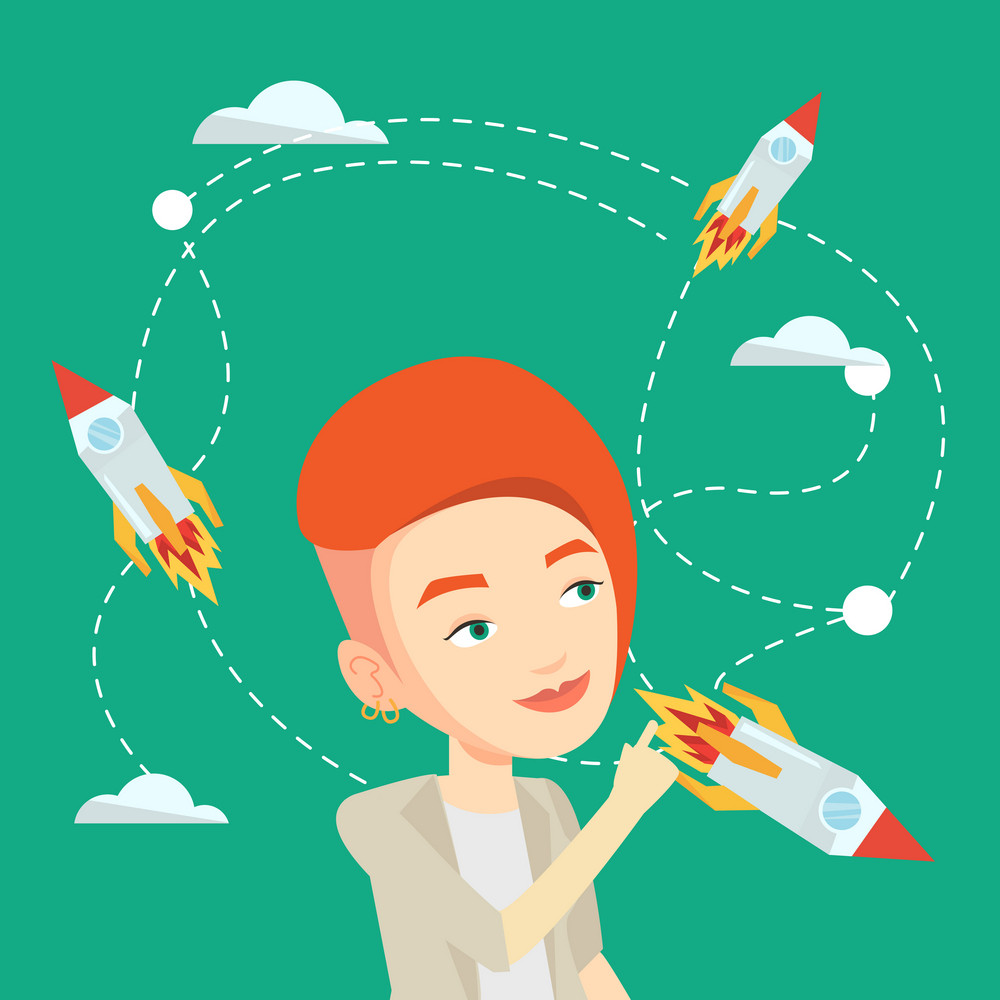 Caucasian business woman looking at flying start uo rockets. Young woman came up with an idea for a business startup. Business startup concept. Vector flat design illustration. Square layout.