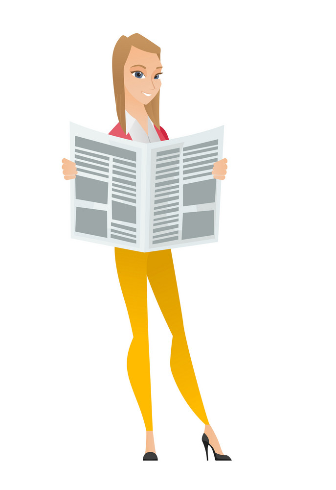 Caucasian business woman reading newspaper. Business woman standing with newspaper in hands. Business woman reading good news in newspaper. Vector flat design illustration isolated on white background