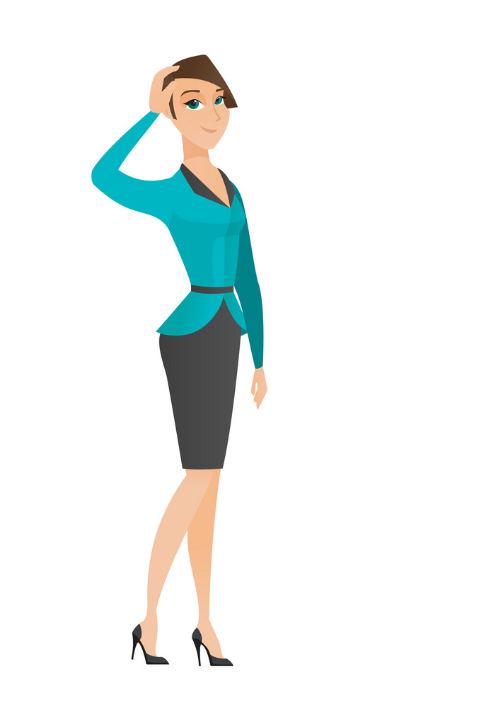 Caucasian business woman scratching head. Full length of thoughtful business woman scratching head. Puzzled business woman scratching head. Vector flat design illustration isolated on white background