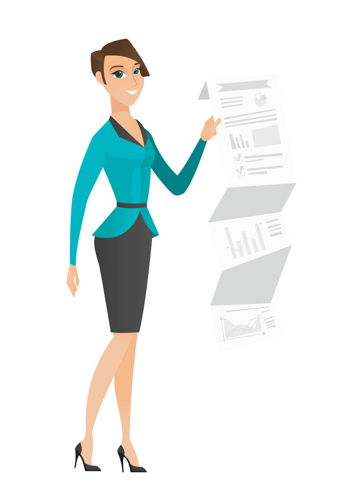 Caucasian business woman showing document with business presentation. Full length of young business woman giving business presentation. Vector flat design illustration isolated on white background.