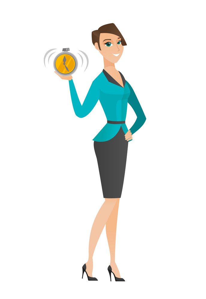 Caucasian business woman showing ringing alarm clock. Full length of business woman with alarm clock. Business woman holding alarm clock. Vector flat design illustration isolated on white background.