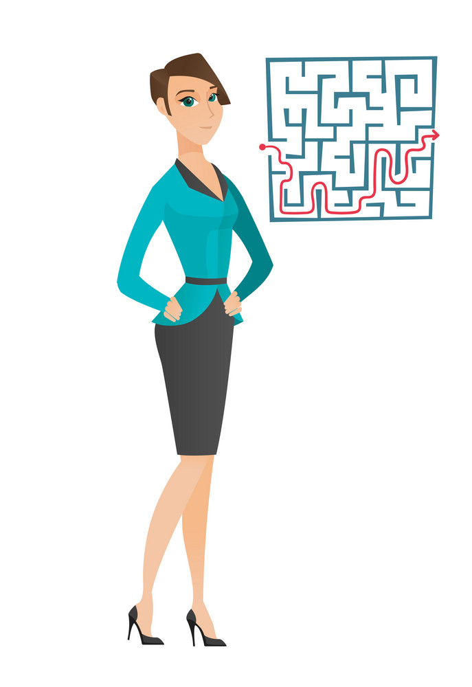 Caucasian business woman thinking about business solution. Business woman looking at labyrinth with solution. Business solution concept. Vector flat design illustration isolated on white background.