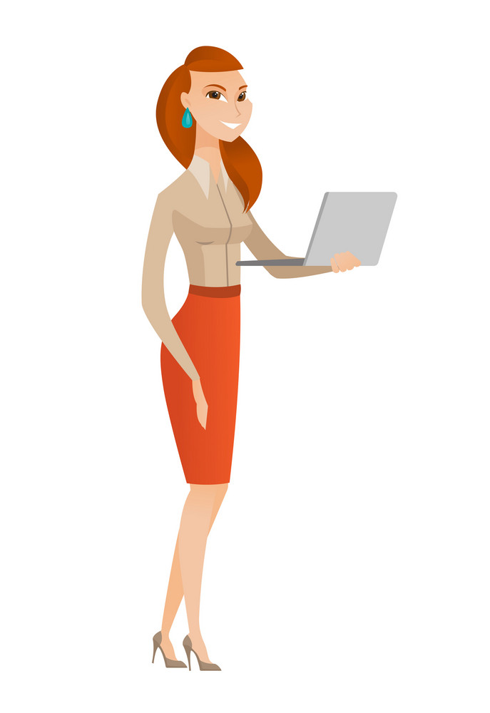 Caucasian business woman using laptop. Full length of smiling business woman working on laptop. Cheerful business woman holding laptop. Vector flat design illustration isolated on white background.