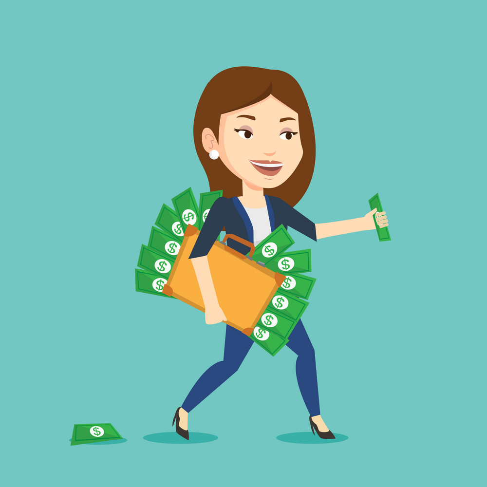 Caucasian business woman walking with briefcase full of money and committing economic crime. Business woman stealing money. Economic crime concept. Vector flat design illustration. Square layout.