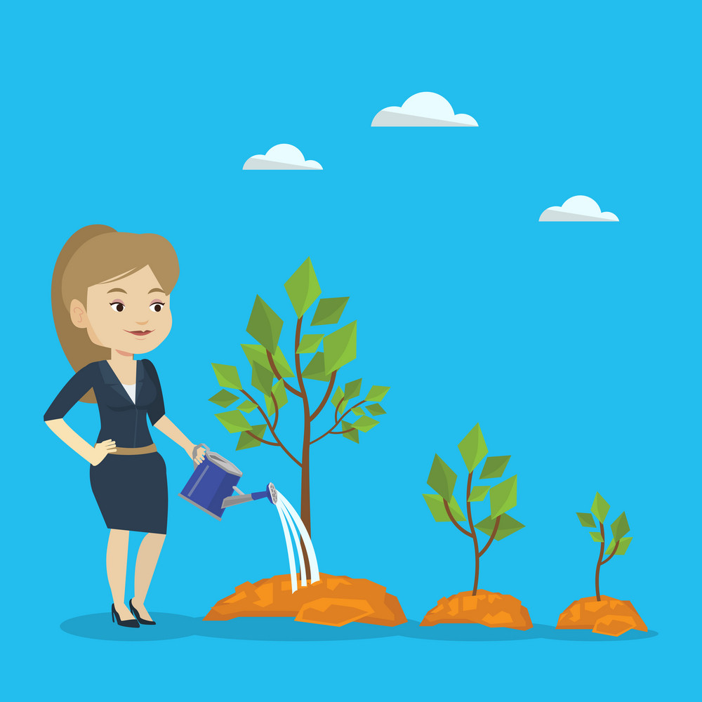 Caucasian business woman watering trees of three sizes. Young businesswoman watering plants with watering can. Business growth and investment concept. Vector flat design illustration. Square layout.