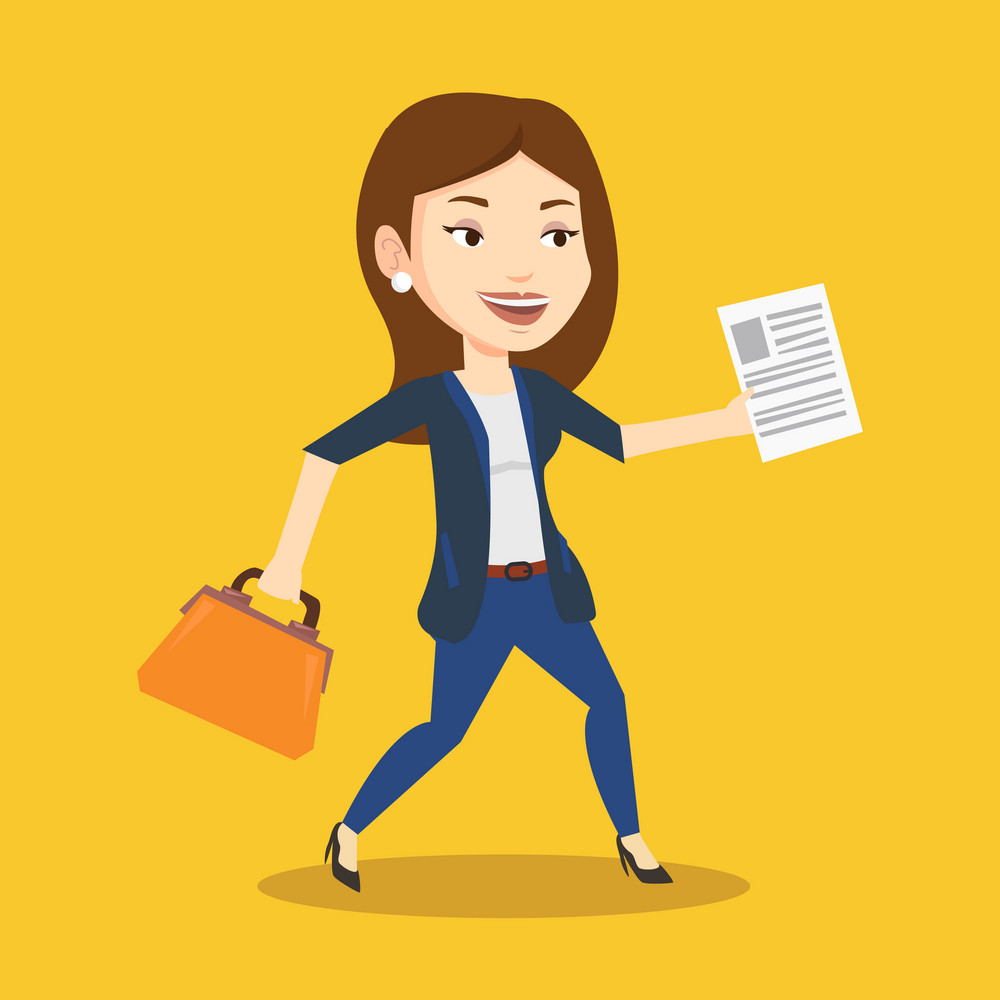 Caucasian business woman with briefcase and a document running. Young happy business woman running in a hurry. Cheerful business woman running forward. Vector flat design illustration. Square layout.
