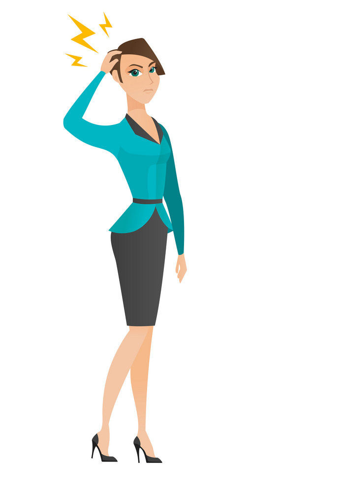 Caucasian business woman with lightning over head. Full length of business woman with lightning. Business woman standing under lightning. Vector flat design illustration isolated on white background.