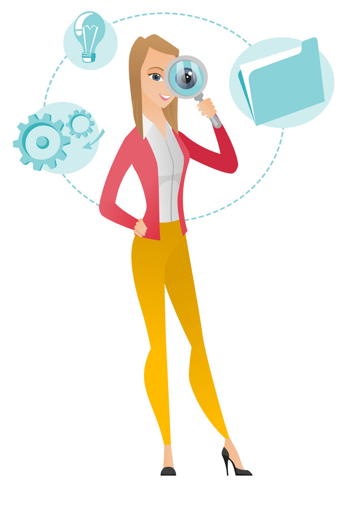 Caucasian business woman with magnifying glass. Business woman holding magnifying glass. Business woman looking through a magnifying glass. Vector flat design illustration isolated on white background