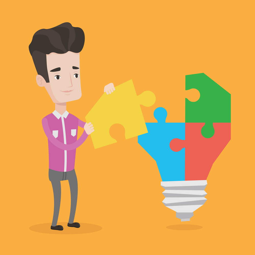 Caucasian businessman completing a light bulb made of puzzle. Businessman inserts the missing puzzle in the light bulb. Business solution, idea concept. Vector flat design illustration. Square layout.