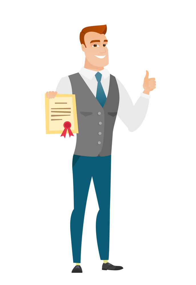 Caucasian businessman holding a certificate. Full length of businessman with certificate. Businessman showing certificate and thumbs up. Vector flat design illustration isolated on white background.