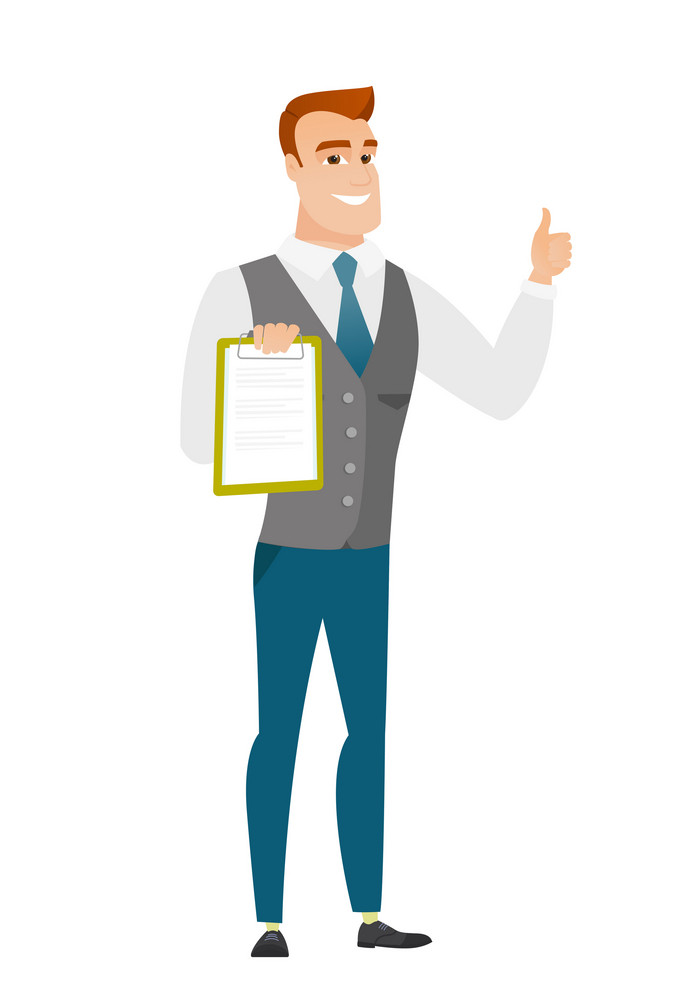 Caucasian businessman holding clipboard and giving thumb up. Full length of businessman with clipboard. Businessman showing clipboard. Vector flat design illustration isolated on white background.