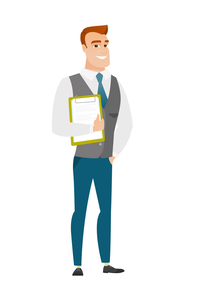 Caucasian businessman holding clipboard with documents. Full length of young businessman with documents. Businessman holding documents. Vector flat design illustration isolated on white background.