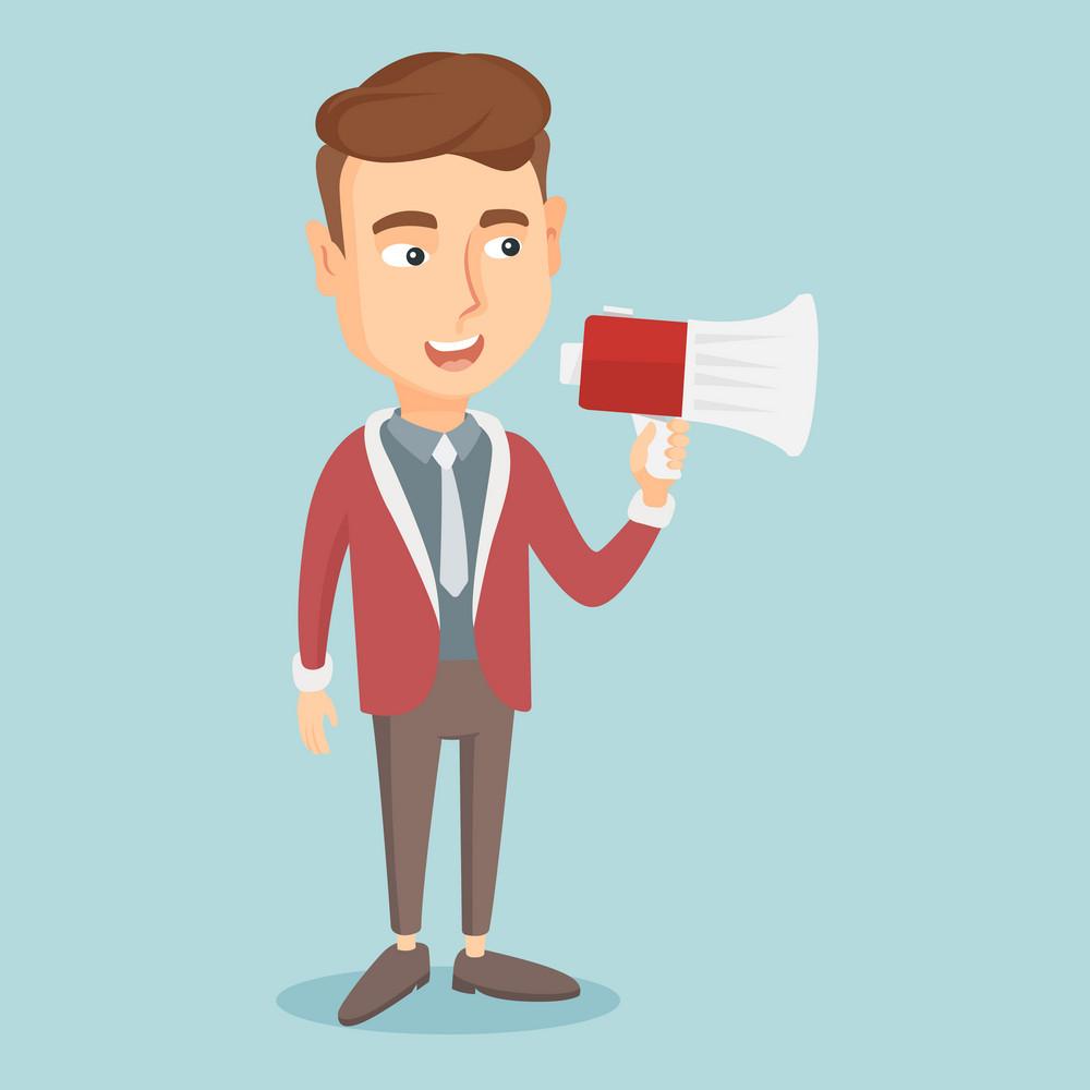 Caucasian businessman holding megaphone. Man promoter speaking into a megaphone. Young man advertising using megaphone. Social media marketing concept. Vector flat design illustration. Square layout.